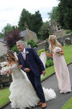 Bride Katie looking beautiful in 'Cadiz' dress with dad and bridesmaid | Amanda Wyatt | Beautiful | Wedding dress |