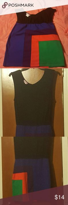 Colorblock dress Multi color on the skirt portion black on top. Cool and comfortable dress. Dresses Mini