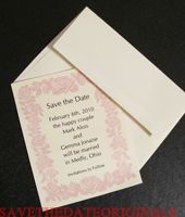 Wedding Save the Date Card - STDC43A - Roses - Pink and Cream