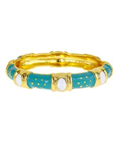 This Gold & Aqua Spring Fling Queen Hinge Bangle is perfect! #zulilyfinds