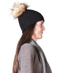 Kaschmir Mütze mit Pompon schwarz Winter Hats, Beige, Fashion, Cashmere Beanie, Gray, Black, Moda, Fashion Styles, Fasion