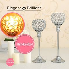 VINCIGANT Sparklers Wedding Table Centerpieces Candelabra,Decorative Floor Vases Crystal Candle Holders for Dining Room Decoration,Set of 2 Floor Vase Decor, Silver Candle Holders, Wedding Sparklers, Wedding Table Centerpieces, Candelabra, Wine Glass, Candles, Dining, Crystals