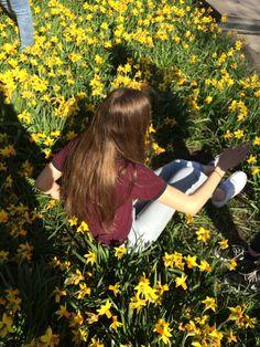❁•Las flores de amarilla, los zapatos de blanco, pantalones vaqueros, y blusa• yellow flowers, white shoes, jeans, and striped red shirt•❁