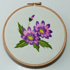 Flower Embroidery Wall hanging in 6 wooden by FromTraceyForYou