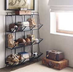 RH Baby Child s Industrial Wire 9 Cubby Storage - Zinc Wire bins lend a warehouse aesthetic to the bedroom or playroom while helping contain clutter and keeping things organized Living Pequeños, Living Room, Cubby Storage, Wire Storage, Storage Ideas, Kitchen Storage, New Room, Kids Room, Boys Room Ideas