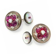 A Pair of Mother of Pearl and Ruby Cufflinks, by Bhagat. Via FD Gallery, www.fd-inspired.com