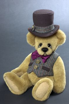 Sir Theodroe - 13 inches. Created from very dense Tissavel faux fus. Vest created from wool and hat created from dense wool coating. #artistbear #artistbears #teddybear #teddy