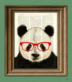 CollageOrama - Panda Smarty Pants Panda Bear  with red glasses illustration beautifully upcycled dictionary page book art print.