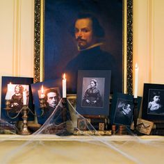 Turn a mantel into a ghostly gallery by photocopying 19th-century portraits and mounting them on somber, coal-colored mats. #halloween