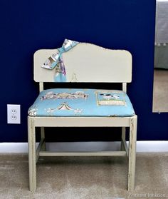 vanity stool with recovered seat Petticoat Junktion project