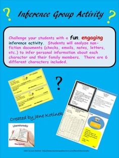 Expect your class to get loud with this activity!  There will be a lot of discussions going on!This is an interactive group activity that should be used to teach or reinforce inference and analysis of nonfiction materials.  The activity includes 6 characters.