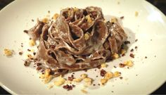 A fine nest of sweetness and delicacy. The chocolate melts in the pasta delighting you... inebriating you of enjoyment! #cocoa #noodles