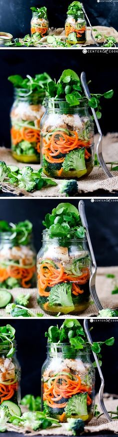 How to Make a Mason Jar Salad! A tasty and healthy lunch you can MAKE ahead. Grab one from the fridge as you walk out the door!