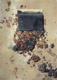 Cartó amb matèria i paper, Antoni Tapies -1970, Mixed media on cardboard