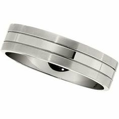 6 mm Titanium Satin and Polished Flat Comfort Fit Ring, Size 9   Your #1 Source for Jewelry and Accessories