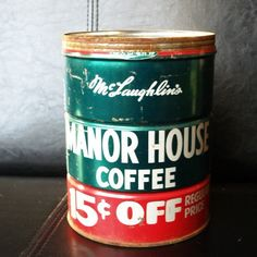 60s COFFEE CAN RETRO Vintage Advertising Tin by ACESFINDSVINTAGE    great  for paint brushes, kitchen utensils, etc.