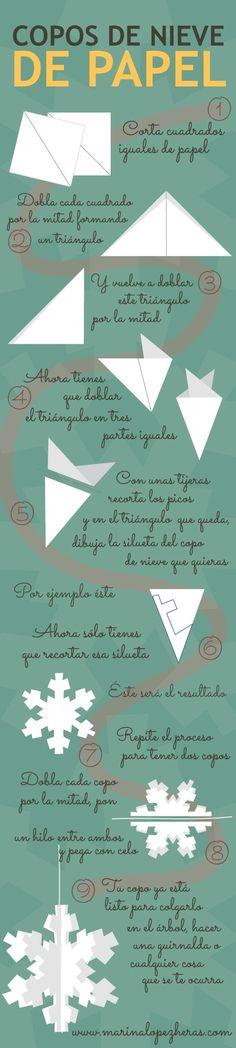 Cómo hacer copos de nieve de papel- Navidad / How to make paper snowflakes - Christmas
