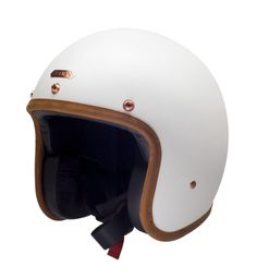HEDON helmet Hedonist Stable White with ECE in matte white with black interior & brown leather trim - buy HEDON helmets at 24Helmets!