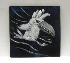 KAKADUANGRIFFSFLUG von Herbivore11 Unikat Comic Kakadu Vogel Minibild Inchie süß