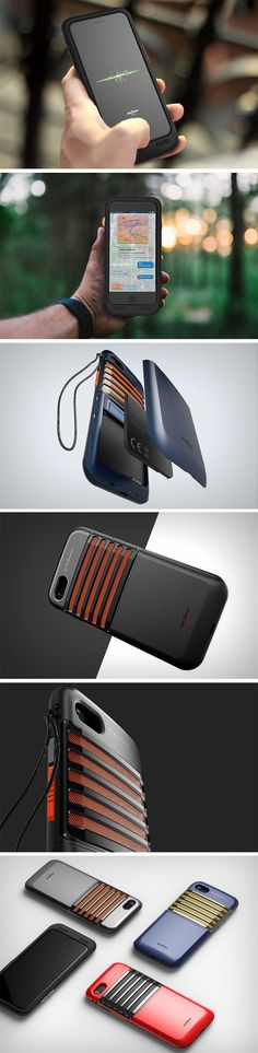 Modeled on the classic Realtone walkie-talkie from the 70s, the rugged Walkie-Talkie iPhone case concept by Sejung Oh and PDF Haus does something rather nifty. Not only does it protect the phone from falls, and also supplies it with additional power (via an extra battery within the case), it allows wireless radio-communication in times of distress.