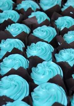 Vanilla Cupcakes with Blue Buttercream Icing and Brown Paper cups.
