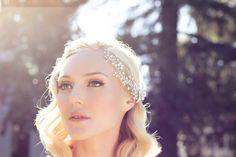 Halo Head Piece, Silver Swarovski Crystal Rhinestone Hair Comb, Bohemian Wired Beads and Sparkling Wedding Headpiece.