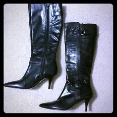 Bandolino Leather Knee High Boots 60% Off Bandolino brown leather knee high boots, aize 6.5. Worn 1 time, look at pictures of bottom of the shoes, they still have partial tags on them. Full inside zip and silver ring detail, great condition. Bandolino Shoes Over the Knee Boots