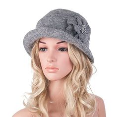 f1d54ea208f Winter Hat for Women Gatsby Style Flower Warm Wool Beret Winter Cap Ladies  Beanies Church Hats Cloche Bonnet Femme Fedoras