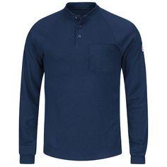 5b83c2298cc0 Bulwark Flame Resistant Henley Long-Sleeve Shirt Navy 3X-Large Regular