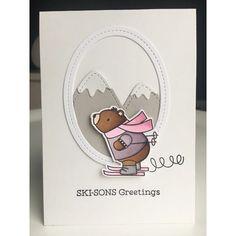 #mftstamps | #mft | #mftsketchchallenge | sketch 358 | #skisonsgreeting | Christmas Cards 2017, Christmas Stuff, Shaped Cards, Mft Stamps, Cut And Paste, Winter Holidays, Skiing, Card Ideas, Bears