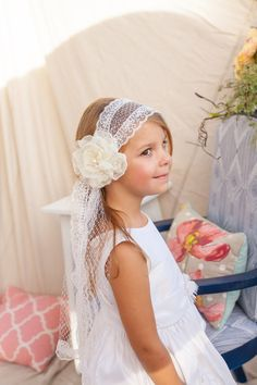 First Communion Headband Veil--CUSTOMIZED w polk-a-dot tulle for JAYNIE by VeilsAndHeadpieces on Etsy https://www.etsy.com/listing/492780272/first-communion-headband-veil-customized