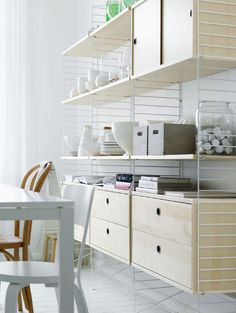 STRING SYSTEM, create your own modular storage system, from A to Z - Original version, designed and manufactured in Sweden - deco and design Custom Shelving, Modular Shelving, Modular Storage, Shelving Systems, Storage Shelves, Shelving Solutions, Open Shelving, String Regal, String Shelf