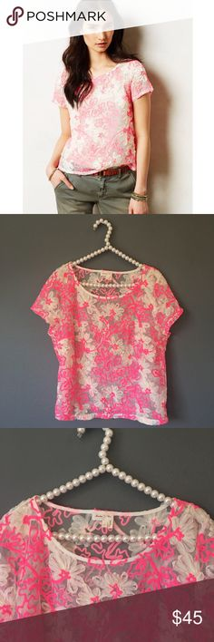 SALE Anthropologie Meadow Rue Cherry Blossom Top So cute and perfect for spring and summer! Excellent pre owned condition! Sheer with appliqué neon detail. No trades!! 0411730wst Anthropologie Tops Blouses