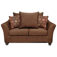 Kendra Pillow Back Loveseat - Victory Chocolate Fabric