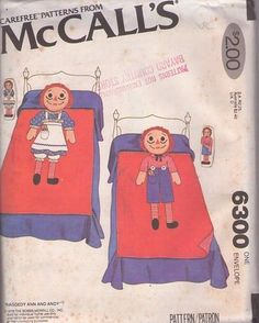 MOMSPatterns Vintage Sewing Patterns - McCall's 6300 Vintage 70's Sewing Pattern MUST SEE Children's Official Bobbs Merrill Co Raggedy Ann & Andy Twin Bed Quilt, Bedspread, Applique Body and FACE PILLOWS, Small Stuffed Dolls, Too! Mccalls Sewing Patterns, Vintage Sewing Patterns, Clothing Patterns, Quilt Bedding, Bedspread, Uk D, Raggedy Ann And Andy, Beautiful Patterns, Vintage 70s