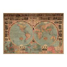 Vintage Map of The World (1883) Poster