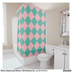 Retro American Diner Tile Pattern Rose Pink Blue Shower Curtain