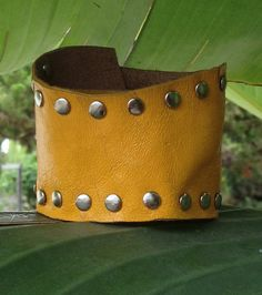 distressed YELLOW leather cuff bracelet STUDDED one by whackytacky.com aka peoplecollars.com, $29.99
