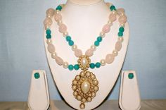Splendid Double Line Necklace Made With Turquoise Onyx, Rose Quartz, Pearls and Large Temple Pendant. Captivating Big Event Magnificence.