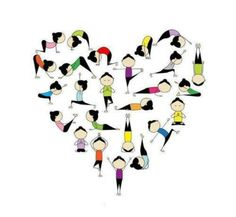 Heart with different Asanas forming the shape