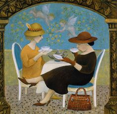 Tea in Venice Due  by Marcelle Milo-Grey Greeting Card.