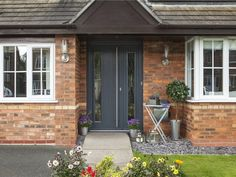 The Window Sanctuary offer a large range of Solidor Composite Doors in kent. We can quickly provide a fresh and uniquely secure entrance to your home. House Front Door, Front Door Decor, Grey Front Doors, Door Fittings, Doors Online, Composite Door, Clay Tiles, Window Design, Wood Doors