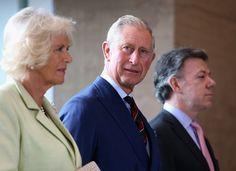 Camilla, Duchess of Cornwall, Prince Charles, Prince of Wales and President of Colombia Juan Manuel Santos look on at the Centre for Peace and Reconciliation on October 30, 2014