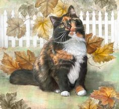 Calico Maine Coon Cat with Fall Leaves - by Dianne Woods