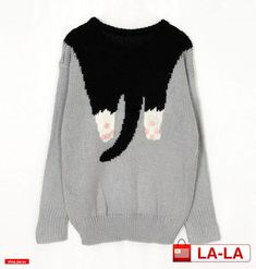cat sweater---- I have such a weird love for cat sweaters. Pull Jacquard, Fashion Week, Womens Fashion, Style Japonais, Cat Sweaters, Crazy Cat Lady, Sweater Weather, Pulls, Shibori