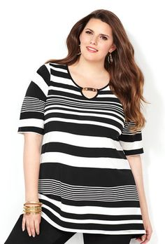 MIX STRIPE HARDWARE ELBOW SLV TOP, Black White Plus Size Tops, Plus Size Women, Metal Bar, Her Style, Plus Size Outfits, Plus Size Fashion, Engineer, Black And White, Zaftig