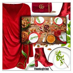 """Set the Table: Thanksgiving Dinner"" by shoaleh-nia ❤ liked on Polyvore featuring Yves Saint Laurent, Arte Italica, Boohoo and Gucci"