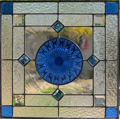 Vintage Blue Plate Stained Glass Window with Blue by DebsGlassArt