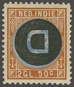Netherlands Indies 2½ gulden oranjebruin en lichtblauw met variëteit kopstaande opdruk, fraai ex. (dun plekje) met certificaat NVPH 1955, cat.w. 750  Dealer Co...