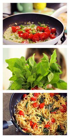Spaghettini de Espinafre! Um prato super fresh, fácil, rápido e delicioso! Receitinha pra Popeye nenhum botar defeito! rs.